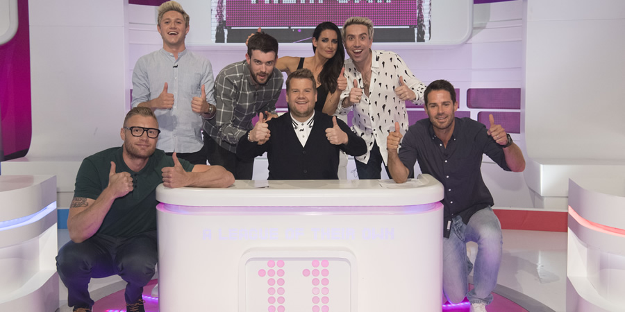 A League Of Their Own. Image shows from L to R: Andrew Flintoff, Niall Horan, Jack Whitehall, James Corden, Kirsty Gallacher, Nick Grimshaw, Jamie Redknapp. Copyright: CPL Productions.