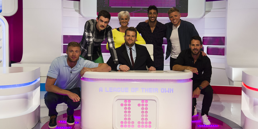 A League Of Their Own. Image shows from L to R: Andrew Flintoff, Jack Whitehall, Judy Murray, James Corden, Daniel Ricciardo, Rob Beckett, Jamie Redknapp. Copyright: CPL Productions.