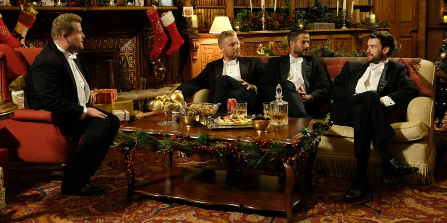A League Of Their Own. Image shows from L to R: James Corden, Andrew Flintoff, Jamie Redknapp, Jack Whitehall. Copyright: CPL Productions.