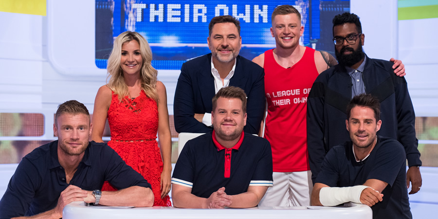 A League Of Their Own. Image shows from L to R: Andrew Flintoff, Helen Skelton, David Walliams, James Corden, Adam Peaty, Romesh Ranganathan, Jamie Redknapp. Copyright: CPL Productions.