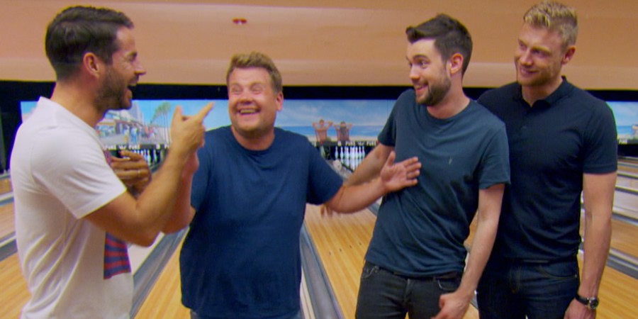 A League Of Their Own. Image shows from L to R: Jamie Redknapp, James Corden, Jack Whitehall, Andrew Flintoff.