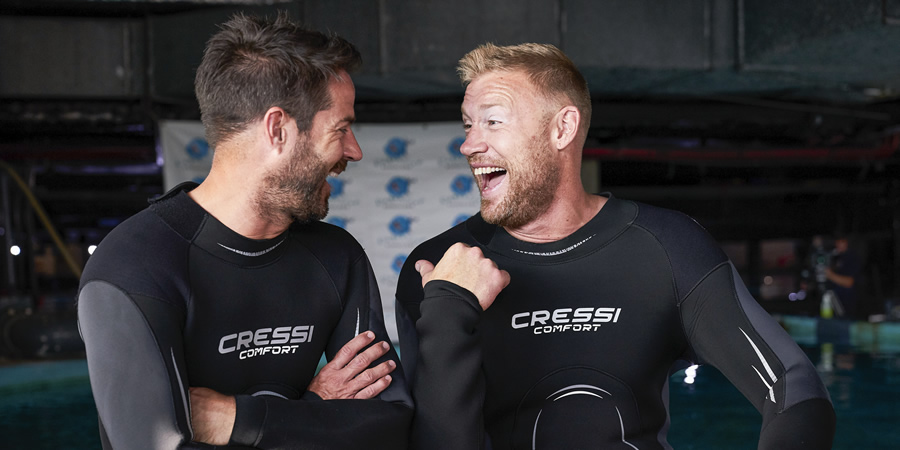 A League Of Their Own. Image shows from L to R: Jamie Redknapp, Andrew Flintoff. Copyright: CPL Productions.