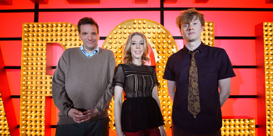 Live At The Apollo. Image shows from L to R: Henning Wehn, Katherine Ryan, James Acaster. Copyright: Open Mike Productions.