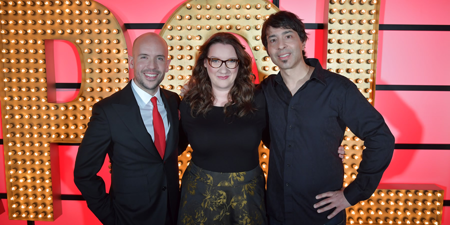 Live At The Apollo. Image shows from L to R: Tom Allen, Sarah Millican, Arj Barker. Copyright: Open Mike Productions.