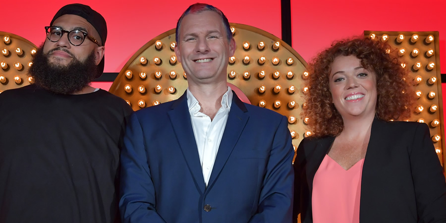 Live At The Apollo. Image shows from L to R: Jamali Maddix, Adam Hills, Michelle Wolf. Copyright: Open Mike Productions.