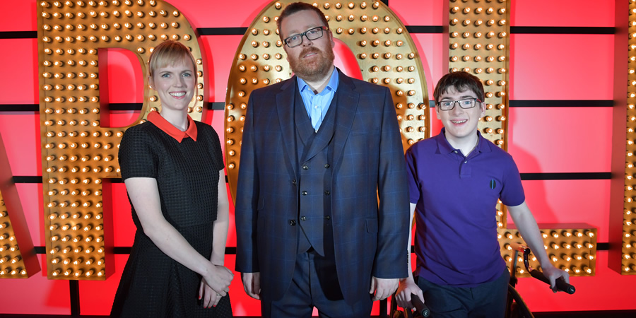 Live At The Apollo. Image shows from L to R: Holly Walsh, Frankie Boyle, Jack Carroll. Copyright: Open Mike Productions.