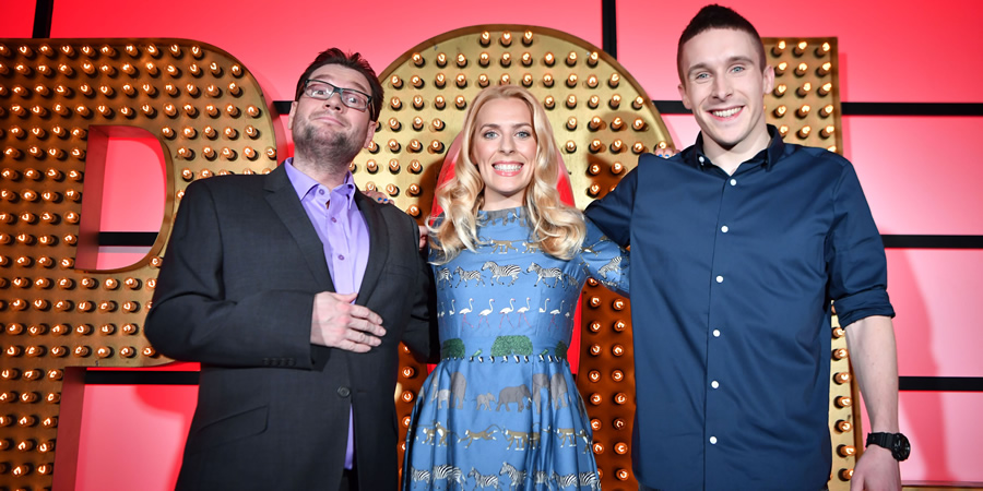 Live At The Apollo. Image shows from L to R: Gary Delaney, Sara Pascoe, Larry Dean. Copyright: Open Mike Productions.
