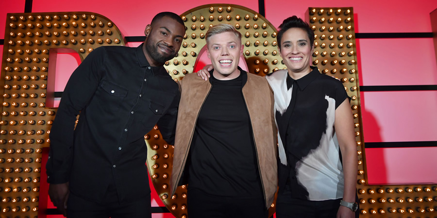Live At The Apollo. Image shows from L to R: Darren Harriott, Rob Beckett, Jen Brister. Copyright: Open Mike Productions.