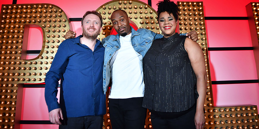 Live At The Apollo. Image shows from L to R: Chris McCausland, Dane Baptiste, Desiree Burch. Copyright: Open Mike Productions.