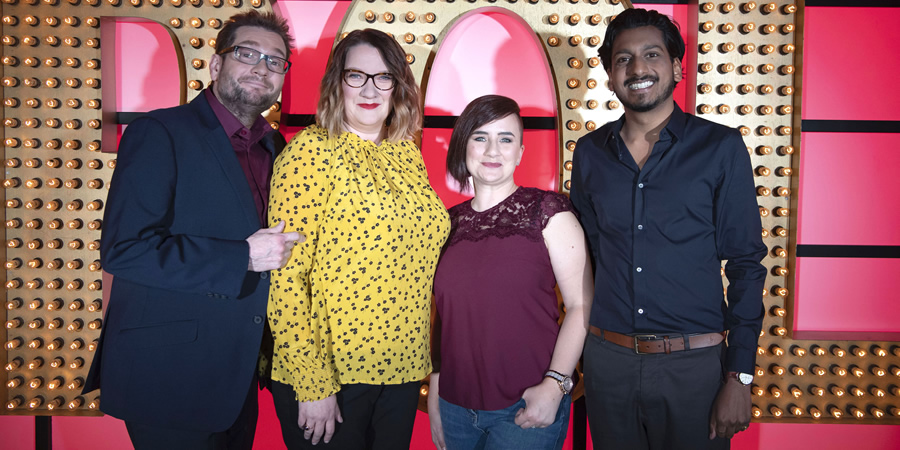 Live At The Apollo. Image shows from L to R: Gary Delaney, Sarah Millican, Laura Lexx, Ahir Shah. Copyright: Open Mike Productions.