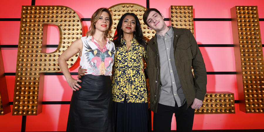 Live At The Apollo. Image shows from L to R: Lou Sanders, Sindhu Vee, Alex Edelman. Copyright: Open Mike Productions.