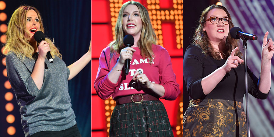 Live At The Apollo. Image shows from L to R: Roisin Conaty, Katherine Ryan, Sarah Millican. Copyright: Open Mike Productions.