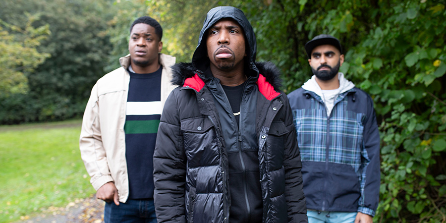 Man Like Mobeen. Image shows from L to R: Nate (Tolulope Ogunmefun), Jovell Maynard (Kiell Smith-Bynoe), Eight (Tez Ilyas).