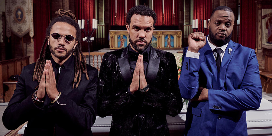 Maxxx. Image shows from L to R: Rico (Luti Fagbenle), Maxxx (O-T Fagbenle), Lucky (Javone Prince).