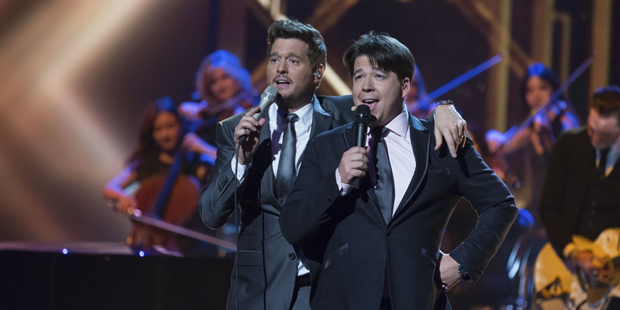 Michael McIntyre's Big Show. Image shows from L to R: Michael Bublé, Michael McIntyre. Copyright: Hungry McBear.