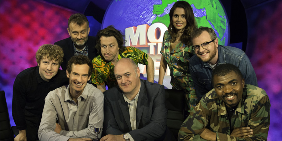 Mock The Week. Image shows from L to R: Josh Widdicombe, Hugh Dennis, Andy Murray, Milton Jones, Dara O Briain, Ellie Taylor, Miles Jupp, Loyiso Gola. Copyright: Angst Productions.