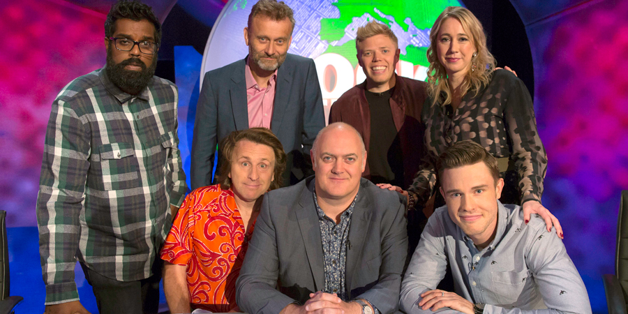 Mock The Week. Image shows from L to R: Romesh Ranganathan, Milton Jones, Hugh Dennis, Dara O Briain, Rob Beckett, Tiffany Stevenson, Ed Gamble. Copyright: Angst Productions.