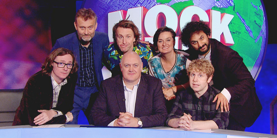 Mock The Week. Image shows from L to R: Ed Byrne, Hugh Dennis, Milton Jones, Dara O Briain, Zoe Lyons, Josh Widdicombe, Nish Kumar. Copyright: Angst Productions.