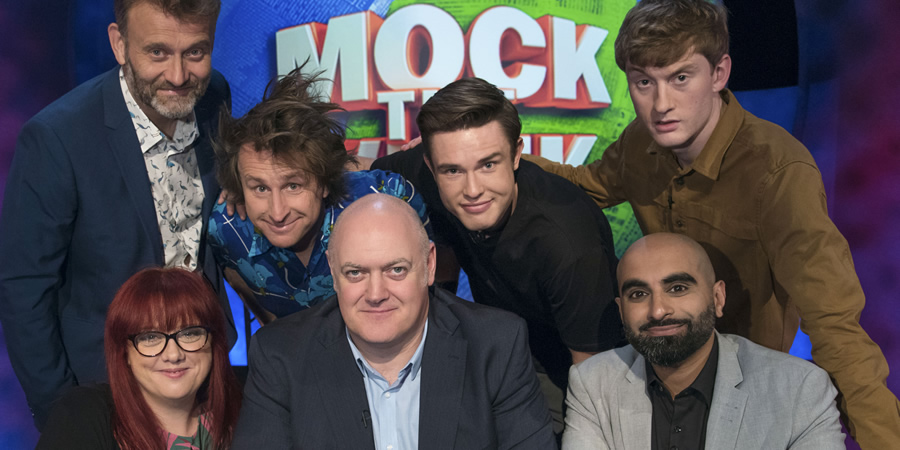 Mock The Week. Image shows from L to R: Hugh Dennis, Angela Barnes, Milton Jones, Dara O Briain, Ed Gamble, Tez Ilyas, James Acaster. Copyright: Angst Productions.
