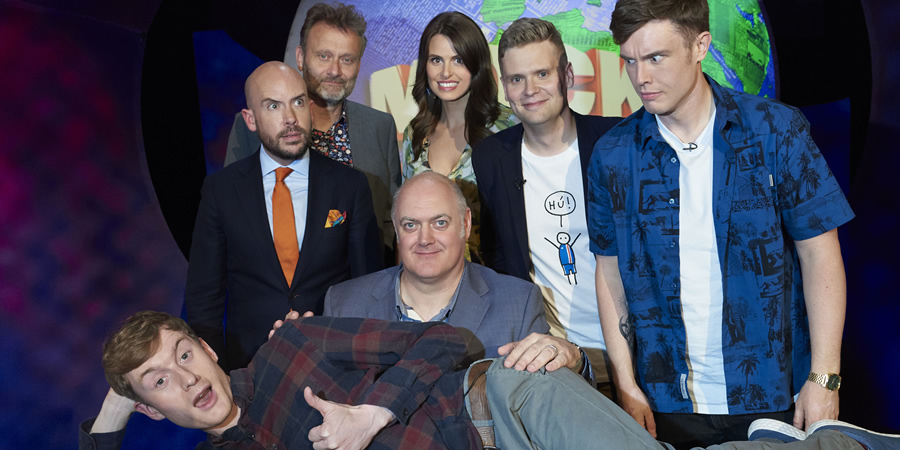 Mock The Week. Image shows from L to R: James Acaster, Tom Allen, Hugh Dennis, Dara O Briain, Ellie Taylor, Ari Eldjárn, Ed Gamble. Copyright: Angst Productions.