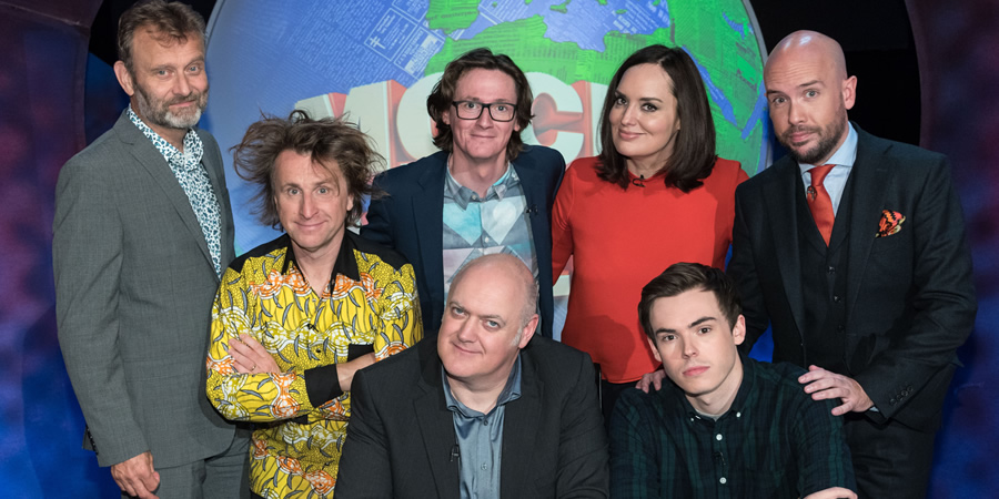 Mock The Week. Image shows from L to R: Hugh Dennis, Milton Jones, Ed Byrne, Dara O Briain, Deborah Frances-White, Rhys James, Tom Allen. Copyright: Angst Productions.