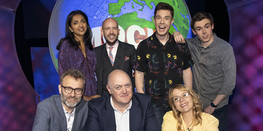 Mock The Week. Image shows from L to R: Hugh Dennis, Sindhu Vee, Tom Allen, Dara O Briain, Ed Gamble, Kerry Godliman, Rhys James. Copyright: Angst Productions.