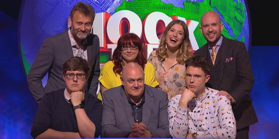 Mock The Week. Image shows from L to R: Hugh Dennis, Glenn Moore, Angela Barnes, Dara O Briain, Olga Koch, Ed Gamble, Tom Allen. Copyright: Angst Productions.