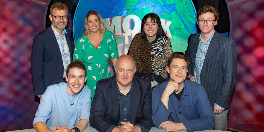 Mock The Week. Image shows from L to R: Hugh Dennis, Larry Dean, Tiffany Stevenson, Dara O Briain, Maisie Adam, Ed Gamble, Ed Byrne. Copyright: Angst Productions.