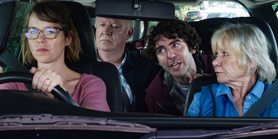 Motherland. Image shows from L to R: Julia (Anna Maxwell Martin), Geoff (David Calder), Kevin (Paul Ready), Elizabeth (Penny Ryder).
