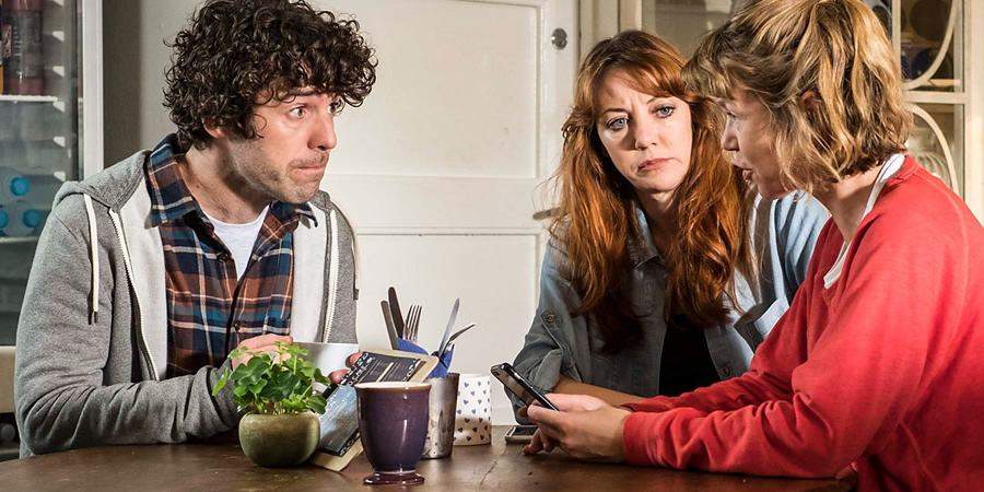 Motherland. Image shows from L to R: Kevin (Paul Ready), Liz (Diane Morgan), Julia (Anna Maxwell Martin).