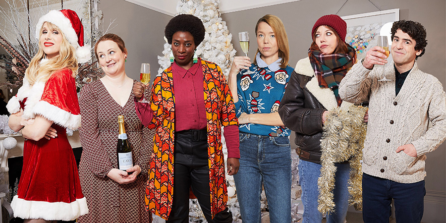 Motherland. Image shows from L to R: Amanda (Lucy Punch), Anne (Philippa Dunne), Meg (Tanya Moodie), Julia (Anna Maxwell Martin), Liz (Diane Morgan), Kevin (Paul Ready).