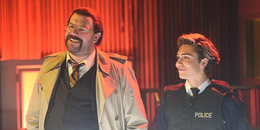 Murder In Successville. Image shows from L to R: DI Sleet (Tom Davis), George Shelley. Copyright: Tiger Aspect Productions.