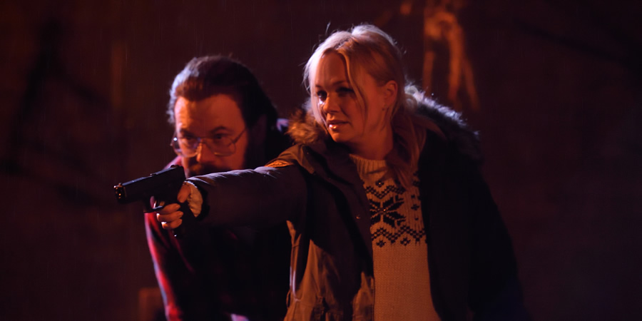 Murder In Successville. Image shows from L to R: DI Sleet (Tom Davis), Emma Bunton. Copyright: Tiger Aspect Productions.