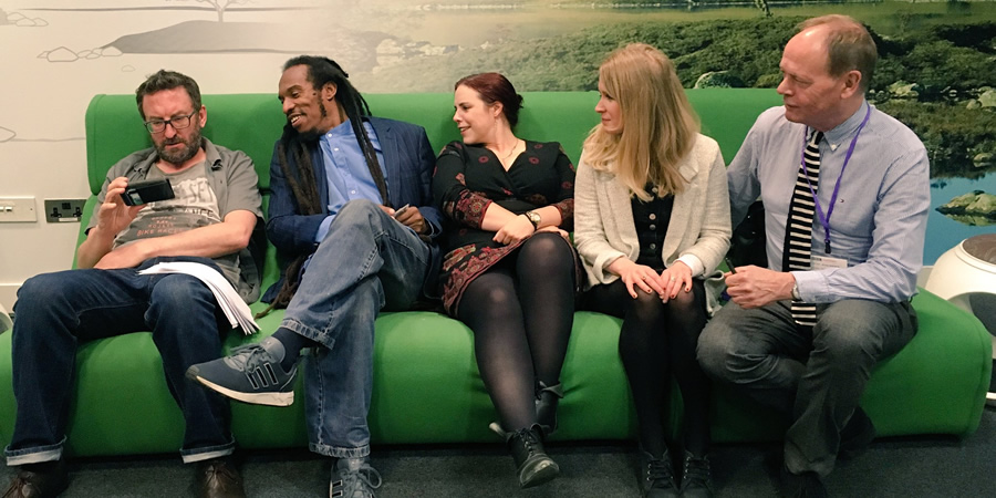 The Museum Of Curiosity. Image shows from L to R: Lee Mack, Benjamin Zephaniah, Kat Arney, Lucy Beaumont, John Lloyd. Copyright: BBC.