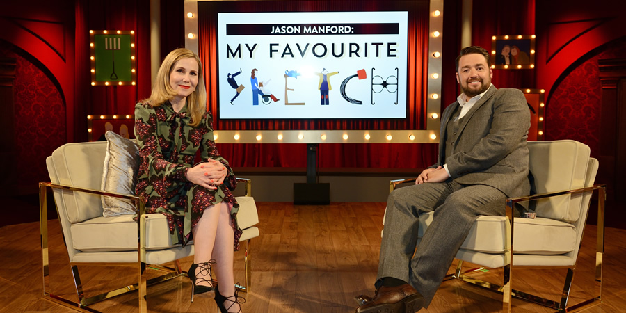 My Favourite Sketch. Image shows from L to R: Sally Phillips, Jason Manford. Copyright: Potato.