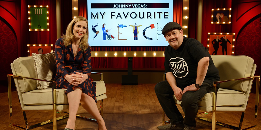 My Favourite Sketch. Image shows from L to R: Sally Phillips, Johnny Vegas. Copyright: Potato.
