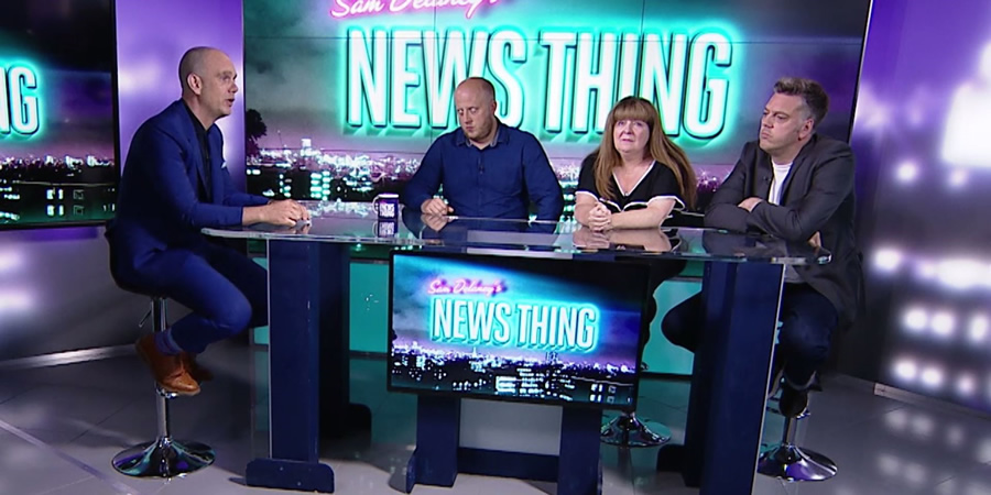 Sam Delaney's News Thing. Image shows from L to R: Sam Delaney, Marek Larwood, Janey Godley, Iain Lee.