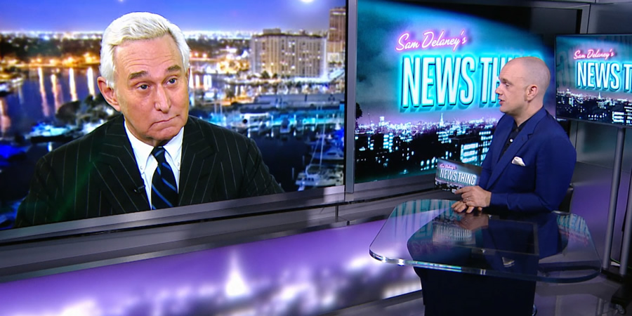 Sam Delaney's News Thing. Image shows from L to R: Roger Stone, Sam Delaney.