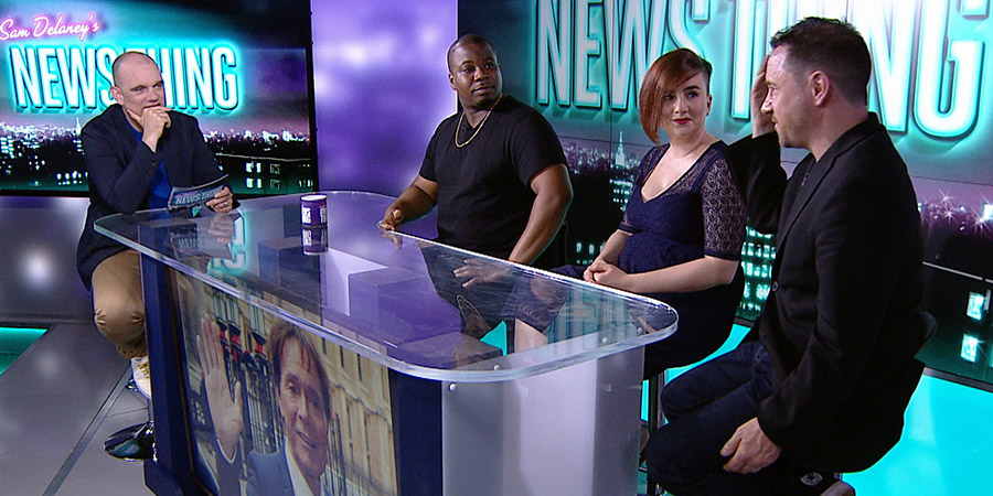 Sam Delaney's News Thing. Image shows from L to R: Sam Delaney, Marlon Davis, Laura Lexx, Jon Holmes.