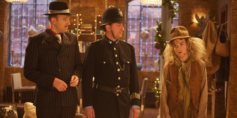 Not Going Out. Image shows from L to R: Tim (Tim Vine), Lee (Lee Mack), Lucy (Sally Bretton).