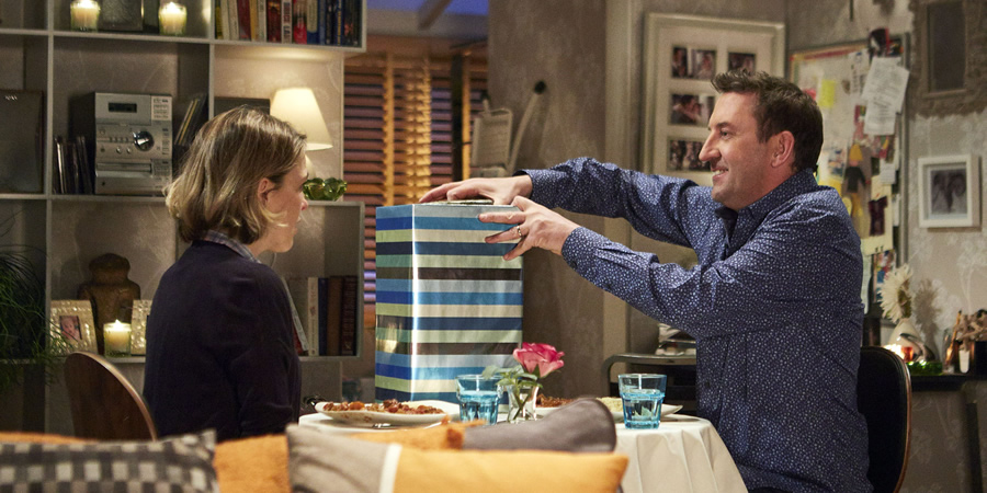 Not Going Out. Image shows from L to R: Lucy (Sally Bretton), Lee (Lee Mack).