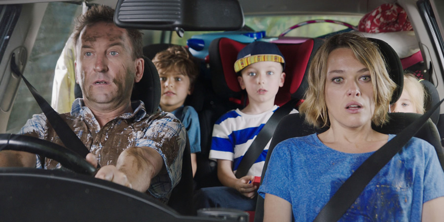 Not Going Out. Image shows from L to R: Lee (Lee Mack), Benji (Max Pattison), Charlie (Finley Southby), Lucy (Sally Bretton).