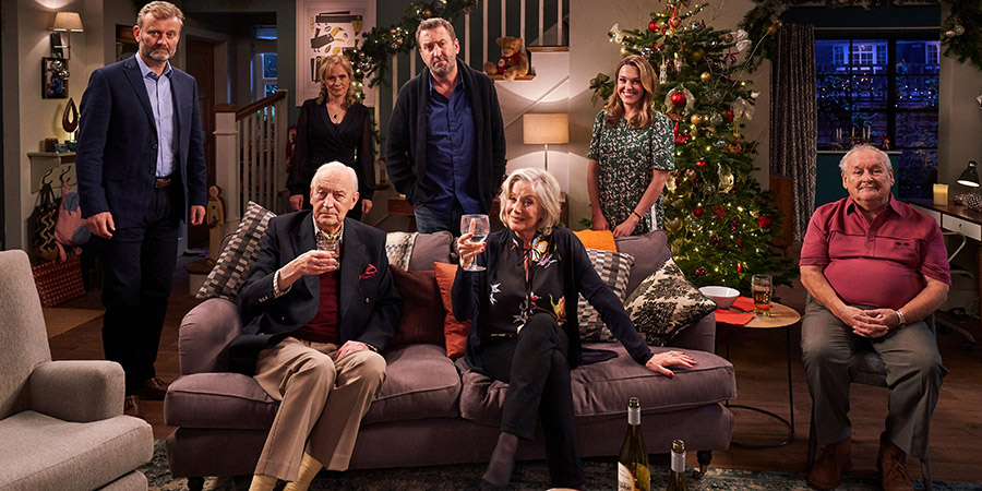 Not Going Out. Image shows from L to R: Toby (Hugh Dennis), Geoffrey (Geoffrey Whitehead), Anna (Abigail Cruttenden), Lee (Lee Mack), Wendy (Deborah Grant), Lucy (Sally Bretton), Frank (Bobby Ball). Copyright: Avalon Television.