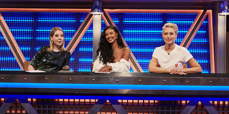 Pants On Fire. Image shows from L to R: Katherine Ryan, Maya Jama, Emma Willis. Copyright: Fulwell 73 Productions.