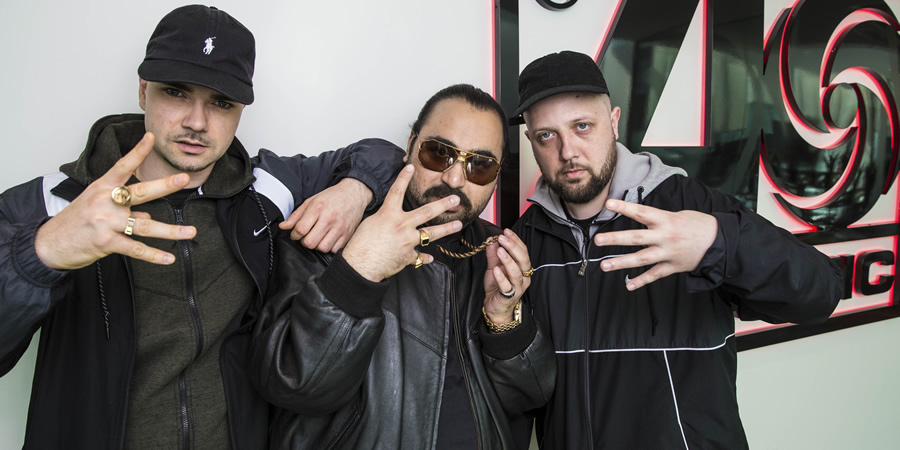 People Just Do Nothing. Image shows from L to R: Grindah (Allan Mustafa), Chabuddy G (Asim Chaudhry), Beats (Hugo Chegwin). Copyright: Roughcut Television.