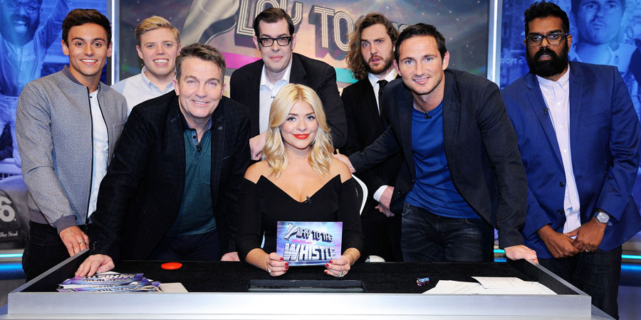 Play To The Whistle. Image shows from L to R: Tom Daley, Rob Beckett, Bradley Walsh, Richard Osman, Holly Willoughby, Seann Walsh, Frank Lampard, Romesh Ranganathan. Copyright: Hungry Bear Media.