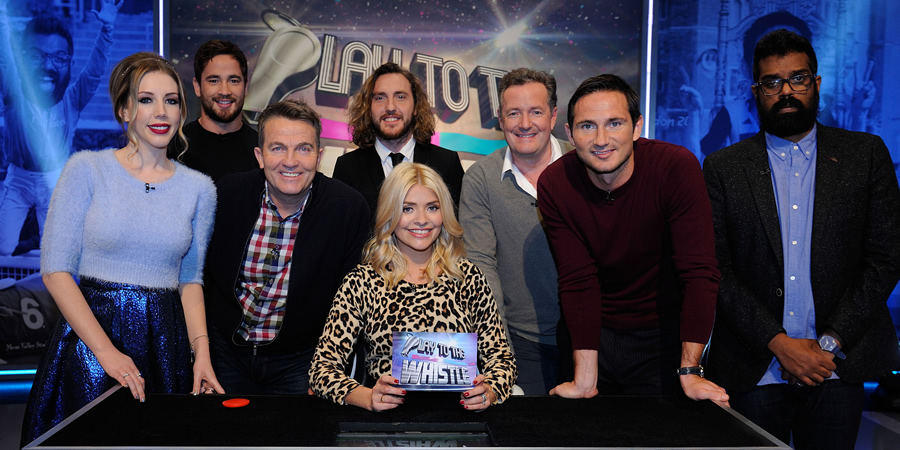 Play To The Whistle. Image shows from L to R: Katherine Ryan, Danny Cipriani, Bradley Walsh, Seann Walsh, Holly Willoughby, Piers Morgan, Frank Lampard, Romesh Ranganathan.