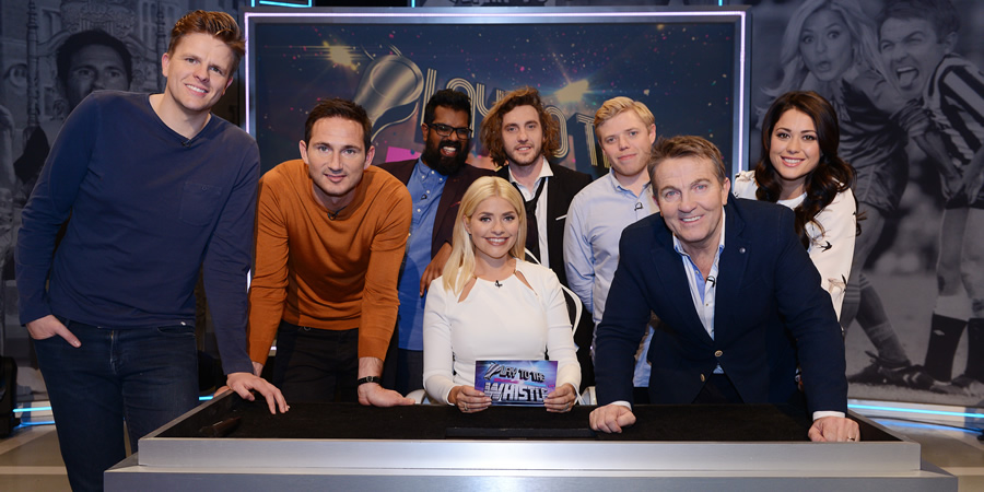 Play To The Whistle. Image shows from L to R: Jake Humphrey, Frank Lampard, Romesh Ranganathan, Holly Willoughby, Seann Walsh, Rob Beckett, Bradley Walsh, Sam Quek. Copyright: Hungry Bear Media.