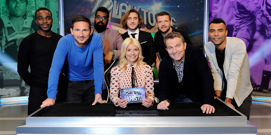 Play To The Whistle. Image shows from L to R: Ore Oduba, Frank Lampard OBE, Romesh Ranganathan, Holly Willoughby, Seann Walsh, Kevin Bridges, Bradley Walsh, Ashley Cole. Copyright: Hungry Bear Media.