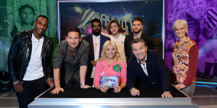 Play To The Whistle. Image shows from L to R: Michail Antonio, Frank Lampard, Romesh Ranganathan, Holly Willoughby, Seann Walsh, Bradley Walsh, Joel Dommett, Judy Murray. Copyright: Hungry Bear Media.